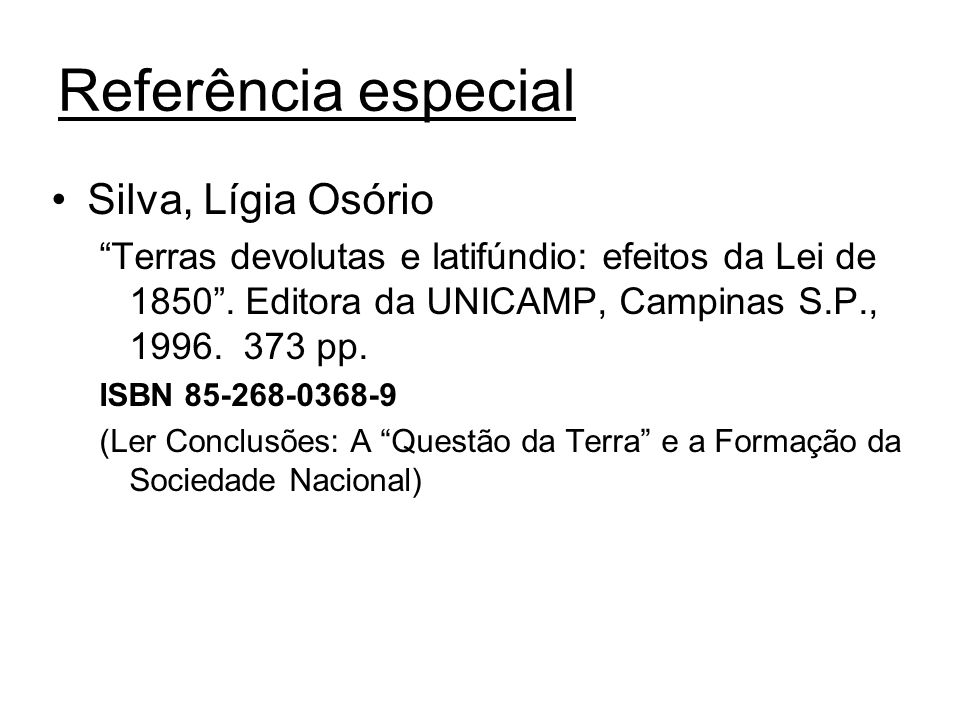 Referência especial Silva, Lígia Osório