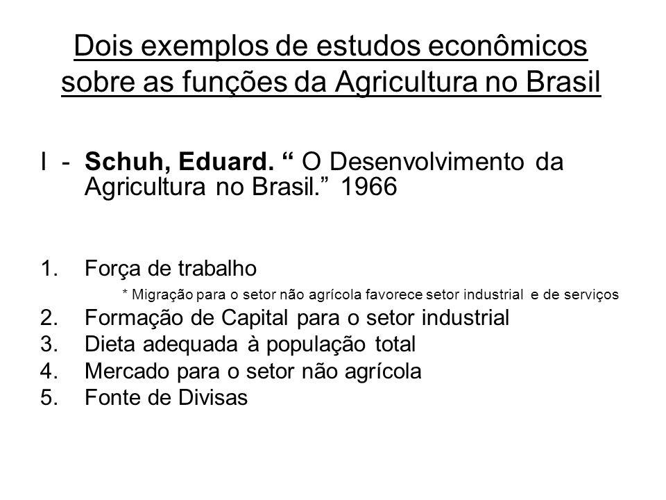 Dois exemplos de estudos econômicos sobre as funções da Agricultura no Brasil