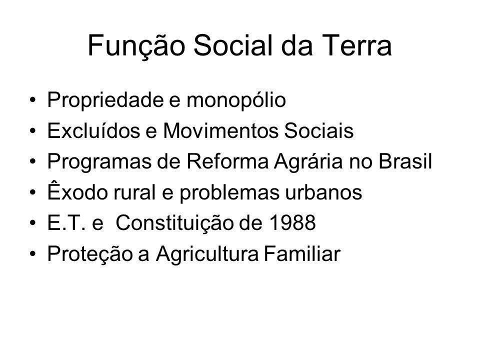 Função Social da Terra Propriedade e monopólio