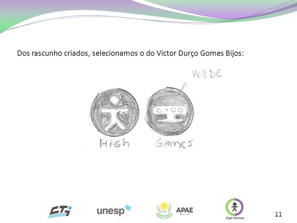 Dos rascunho criados, selecionamos o do Victor Durço Gomes Bijos: