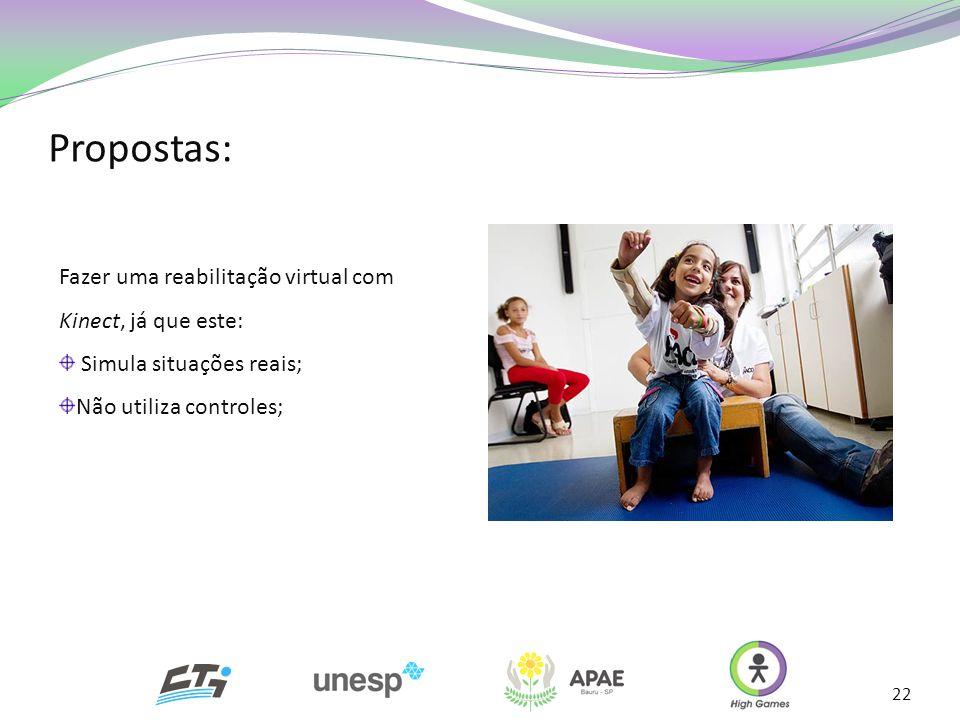 Propostas: Fazer uma reabilitação virtual com Kinect, já que este: