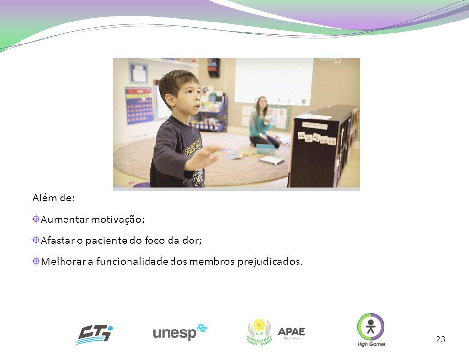 Além de: Aumentar motivação; Afastar o paciente do foco da dor; Melhorar a funcionalidade dos membros prejudicados.