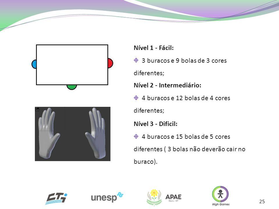 Nível 1 - Fácil: 3 buracos e 9 bolas de 3 cores diferentes; Nível 2 - Intermediário: 4 buracos e 12 bolas de 4 cores diferentes;