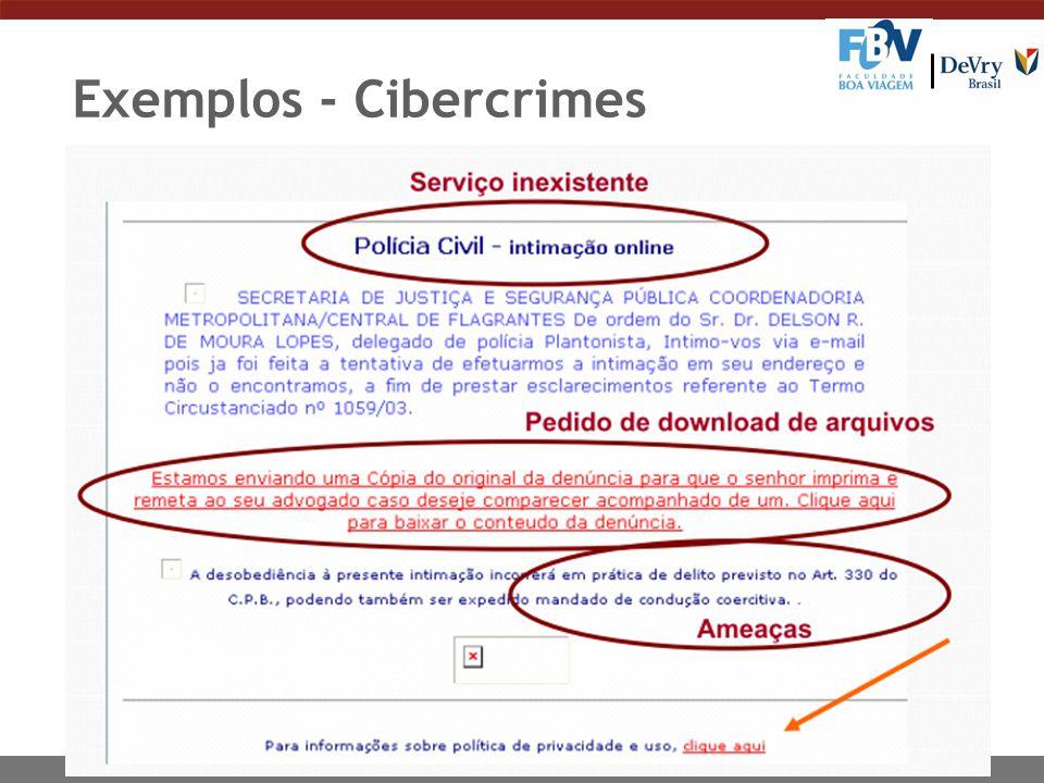 Exemplos - Cibercrimes