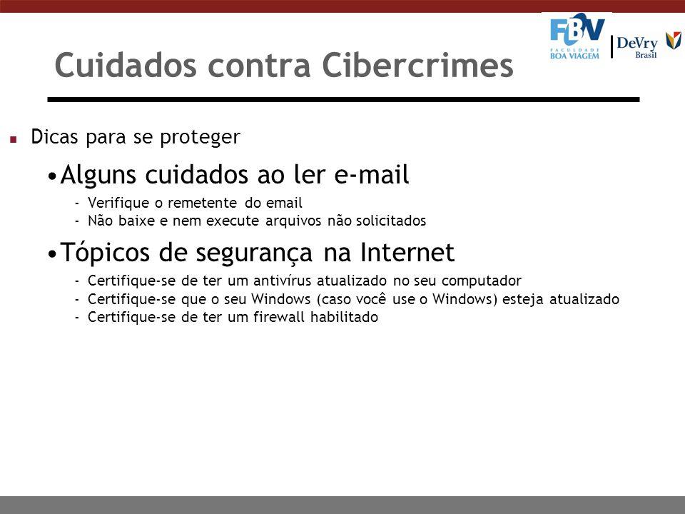 Cuidados contra Cibercrimes