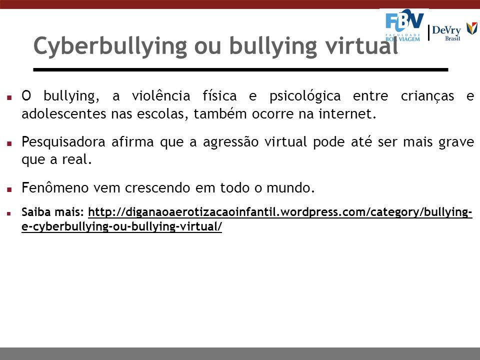 Cyberbullying ou bullying virtual