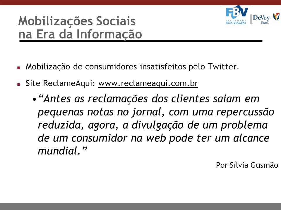 Mobilizações Sociais na Era da Informação