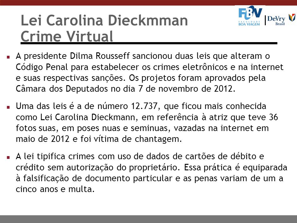 Lei Carolina Dieckmman Crime Virtual