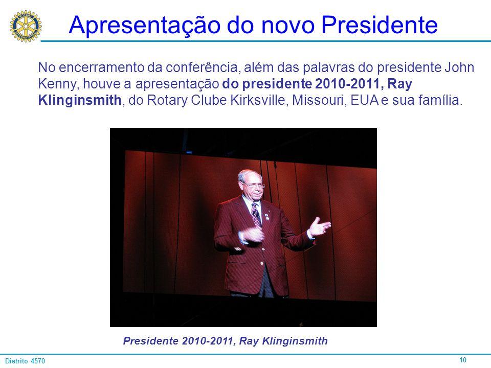 Apresentação do novo Presidente