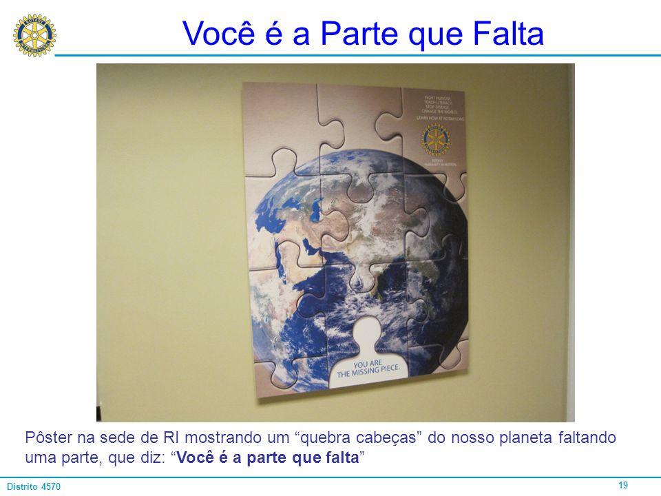 Você é a Parte que Falta Pôster na sede de RI mostrando um quebra cabeças do nosso planeta faltando uma parte, que diz: Você é a parte que falta