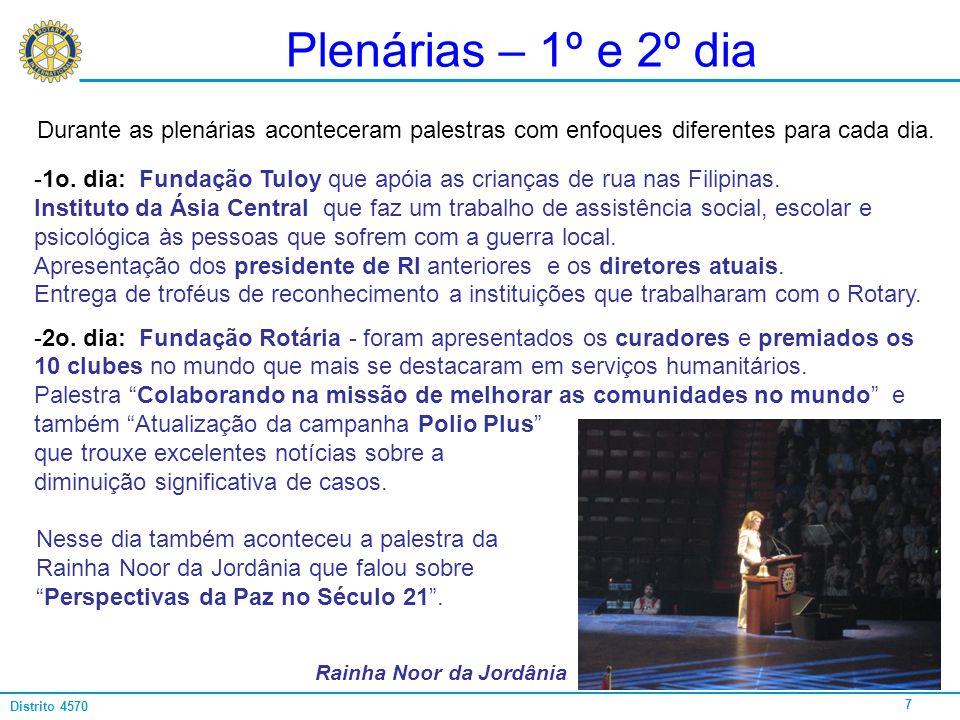 Plenárias – 1º e 2º dia Durante as plenárias aconteceram palestras com enfoques diferentes para cada dia.