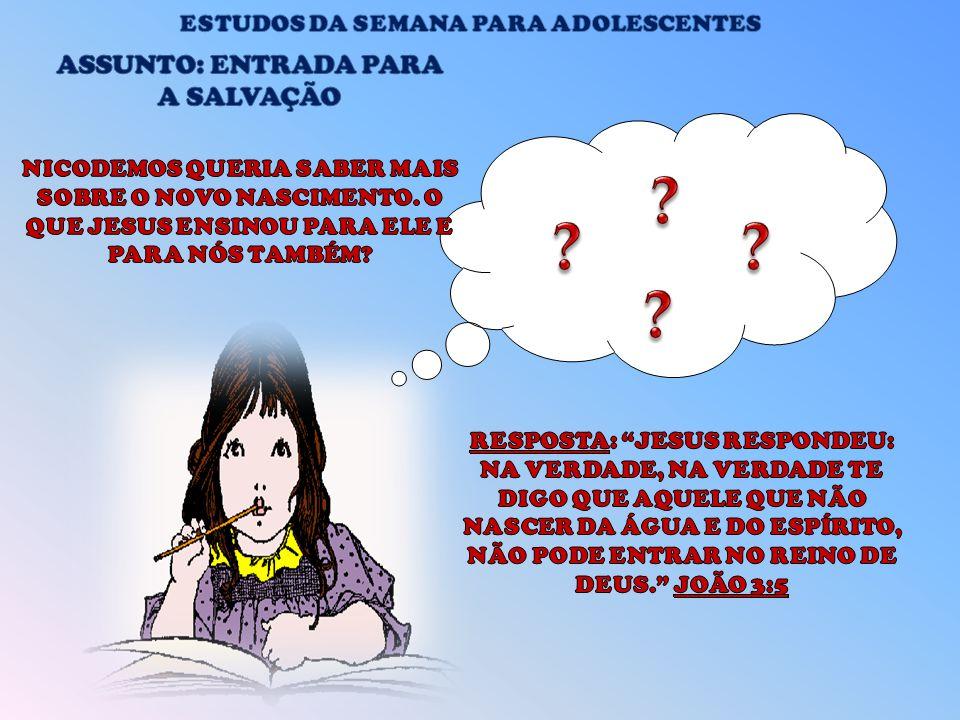 ESTUDOS DA SEMANA PARA ADOLESCENTES