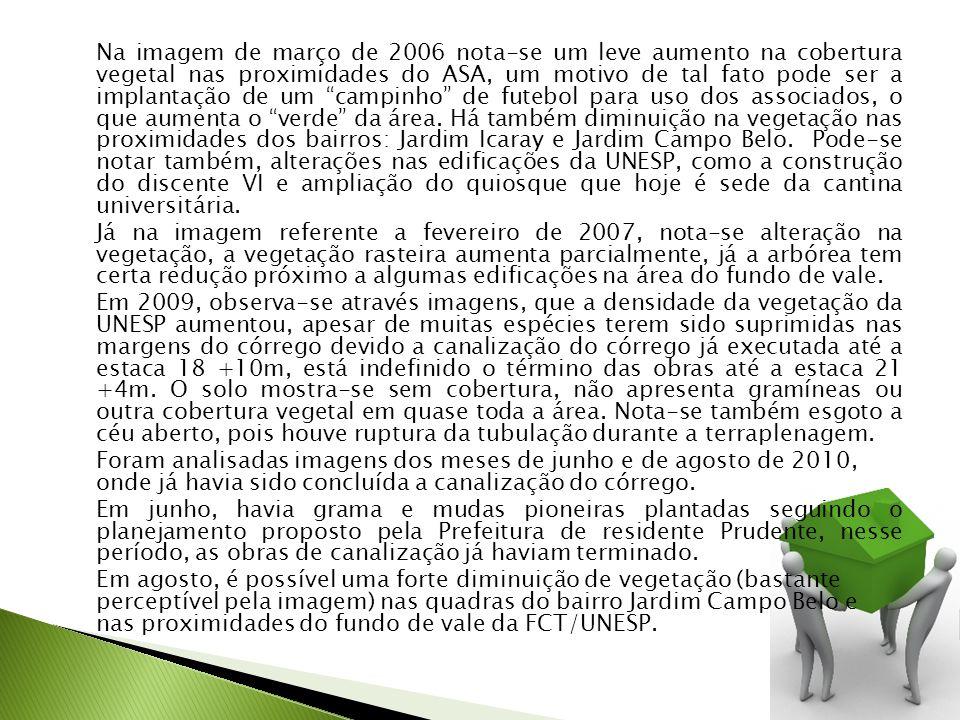 Na imagem de março de 2006 nota-se um leve aumento na cobertura vegetal nas proximidades do ASA, um motivo de tal fato pode ser a implantação de um campinho de futebol para uso dos associados, o que aumenta o verde da área.