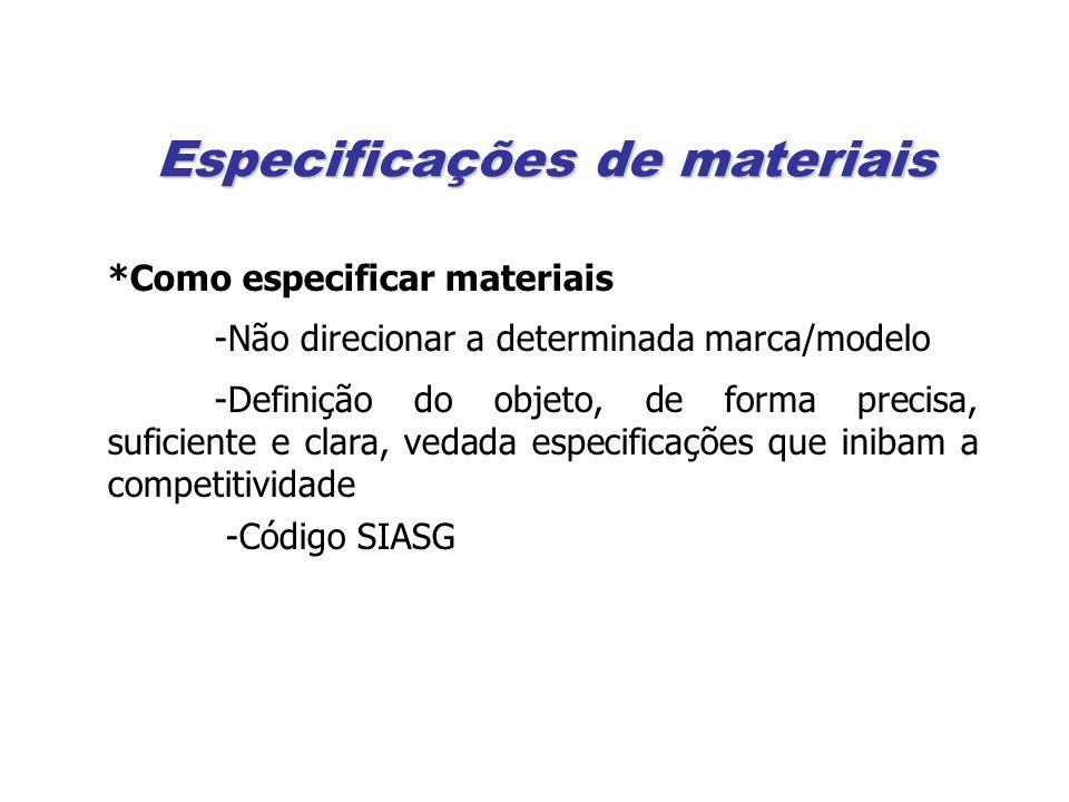 Especificações de materiais