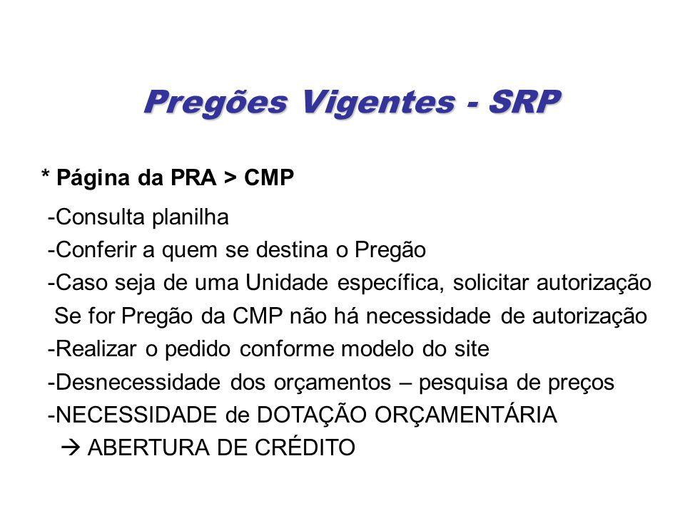Pregões Vigentes - SRP * Página da PRA > CMP -Consulta planilha