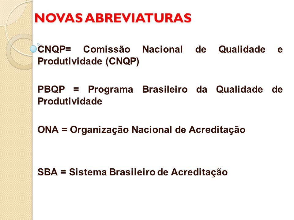 NOVAS ABREVIATURAS CNQP= Comissão Nacional de Qualidade e Produtividade (CNQP) PBQP = Programa Brasileiro da Qualidade de Produtividade.