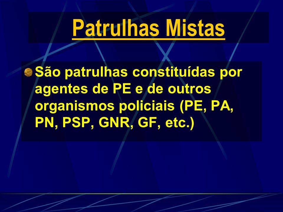 Patrulhas Mistas São patrulhas constituídas por agentes de PE e de outros organismos policiais (PE, PA, PN, PSP, GNR, GF, etc.)