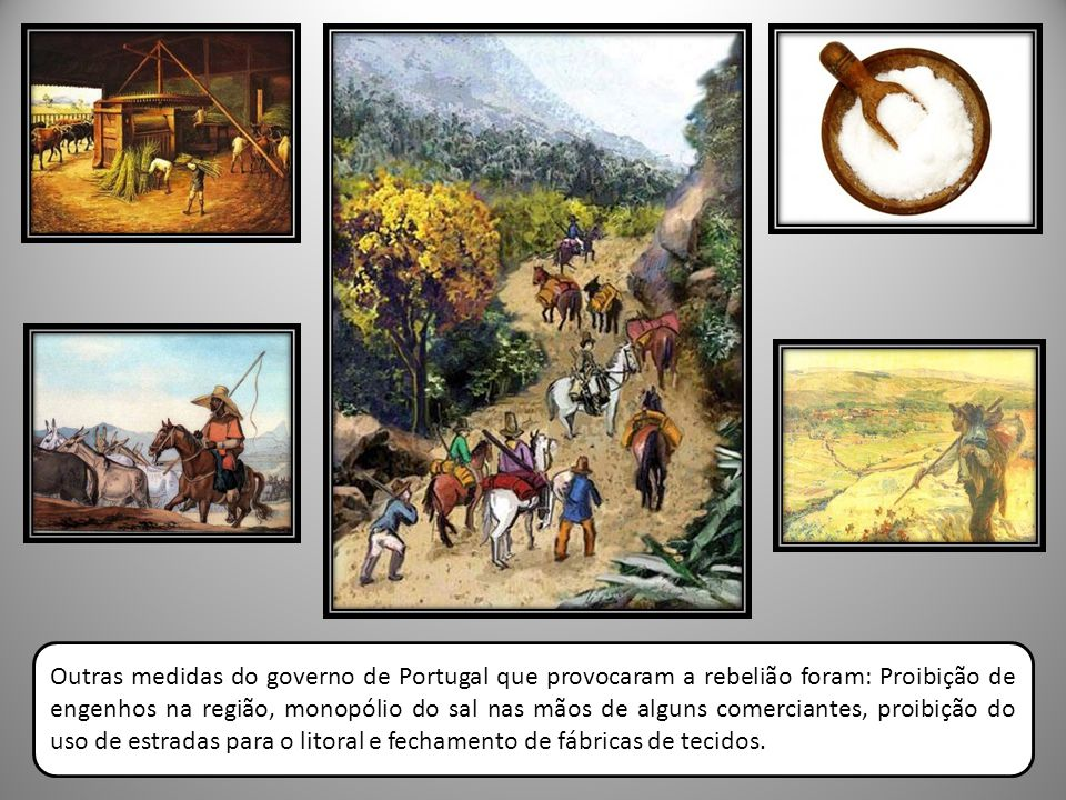 Outras medidas do governo de Portugal que provocaram a rebelião foram: Proibição de engenhos na região, monopólio do sal nas mãos de alguns comerciantes, proibição do uso de estradas para o litoral e fechamento de fábricas de tecidos.