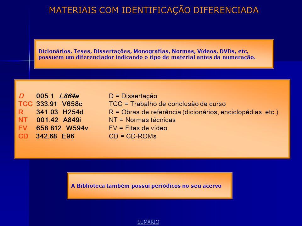 MATERIAIS COM IDENTIFICAÇÃO DIFERENCIADA