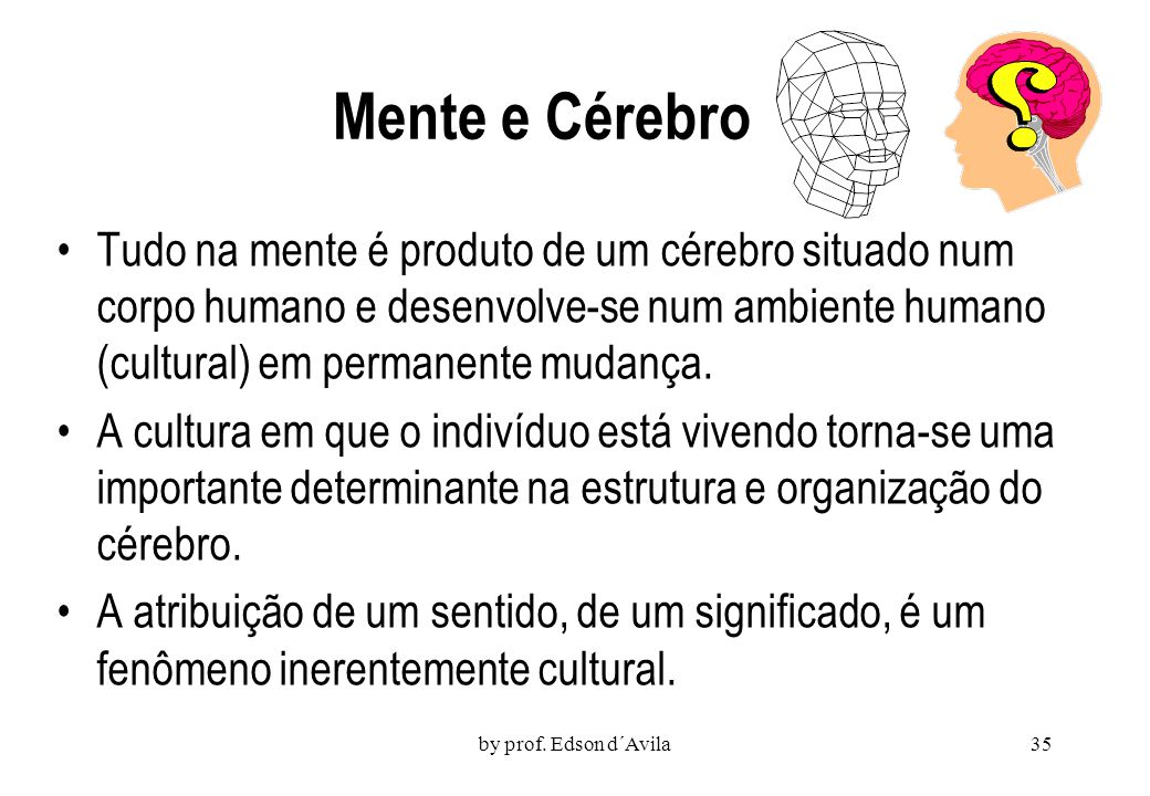 Mente e Cérebro Tudo na mente é produto de um cérebro situado num corpo humano e desenvolve-se num ambiente humano (cultural) em permanente mudança.