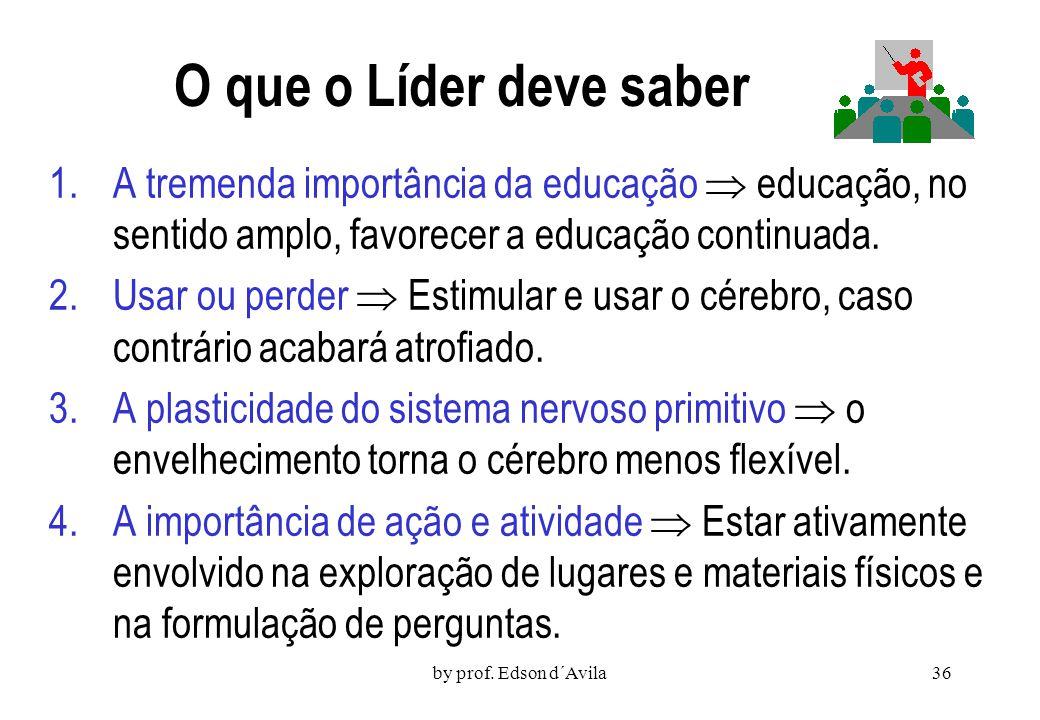 O que o Líder deve saber A tremenda importância da educação  educação, no sentido amplo, favorecer a educação continuada.