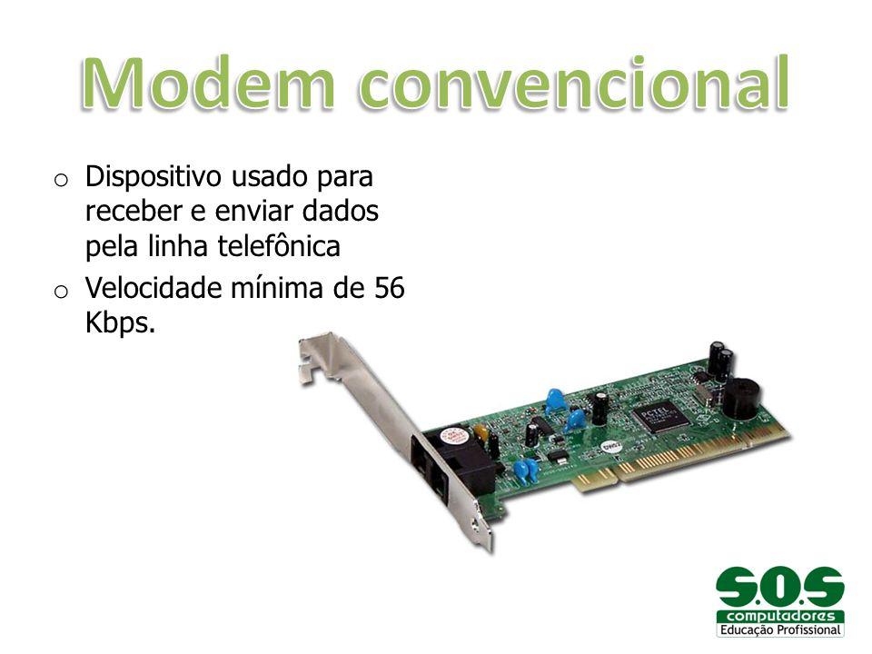 Modem convencional Dispositivo usado para receber e enviar dados pela linha telefônica.