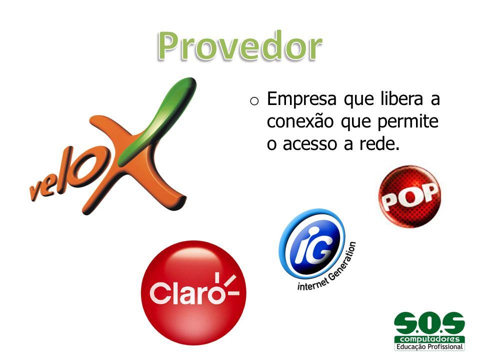 Provedor Empresa que libera a conexão que permite o acesso a rede.