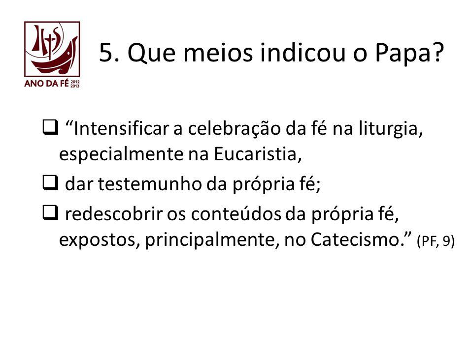 5. Que meios indicou o Papa