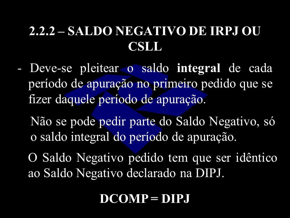 2.2.2 – SALDO NEGATIVO DE IRPJ OU CSLL