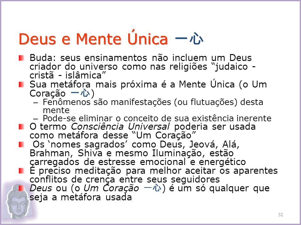 Deus e Mente Única 一心 Buda: seus ensinamentos não incluem um Deus criador do universo como nas religiões judaico - cristã - islâmica