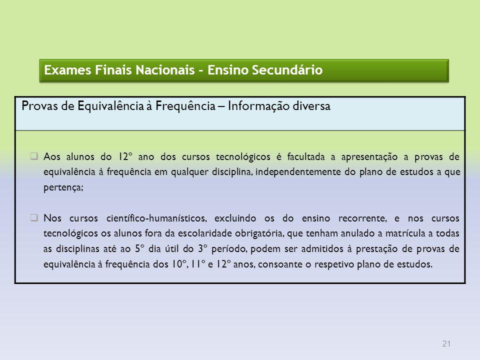 Exames Finais Nacionais - Ensino Secundário