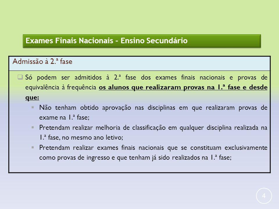 Exames Finais Nacionais - Ensino Secundário Admissão à 2.ª fase