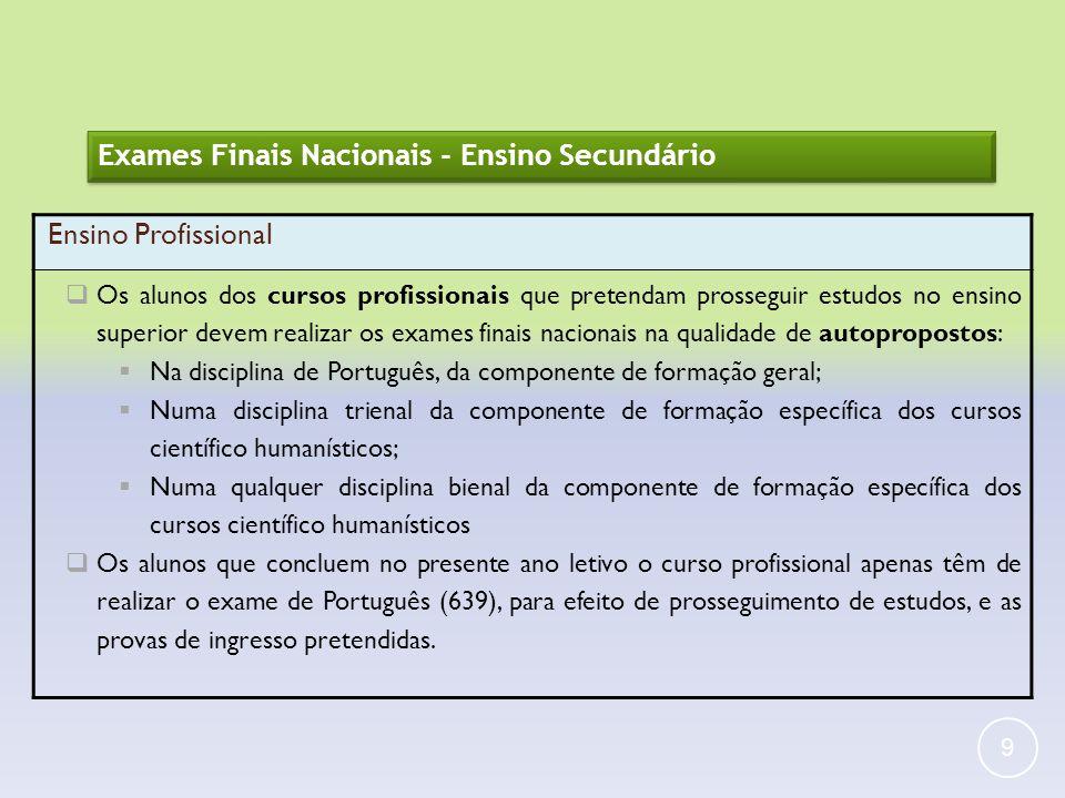 Exames Finais Nacionais - Ensino Secundário Ensino Profissional