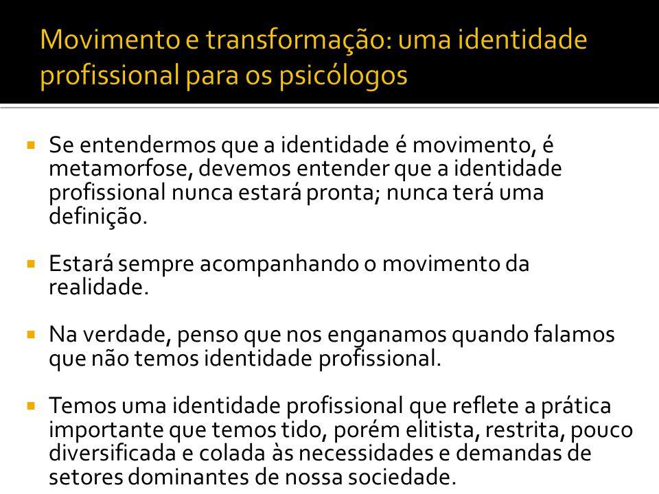 Movimento e transformação: uma identidade profissional para os psicólogos