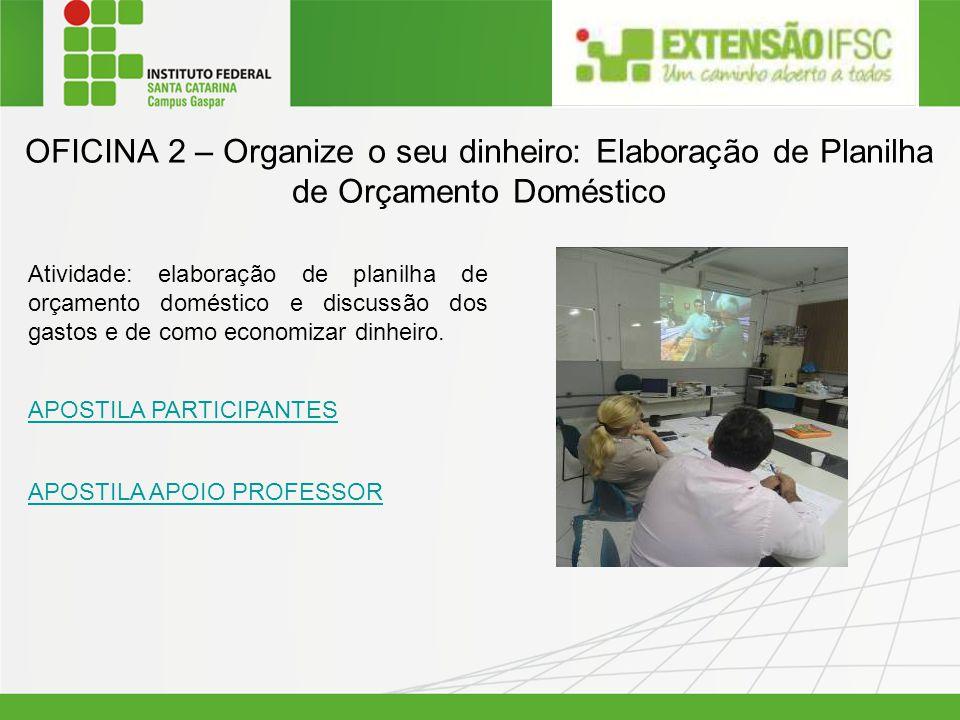 OFICINA 2 – Organize o seu dinheiro: Elaboração de Planilha de Orçamento Doméstico