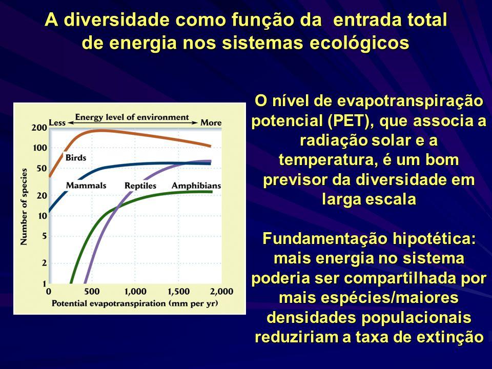 A diversidade como função da entrada total de energia nos sistemas ecológicos