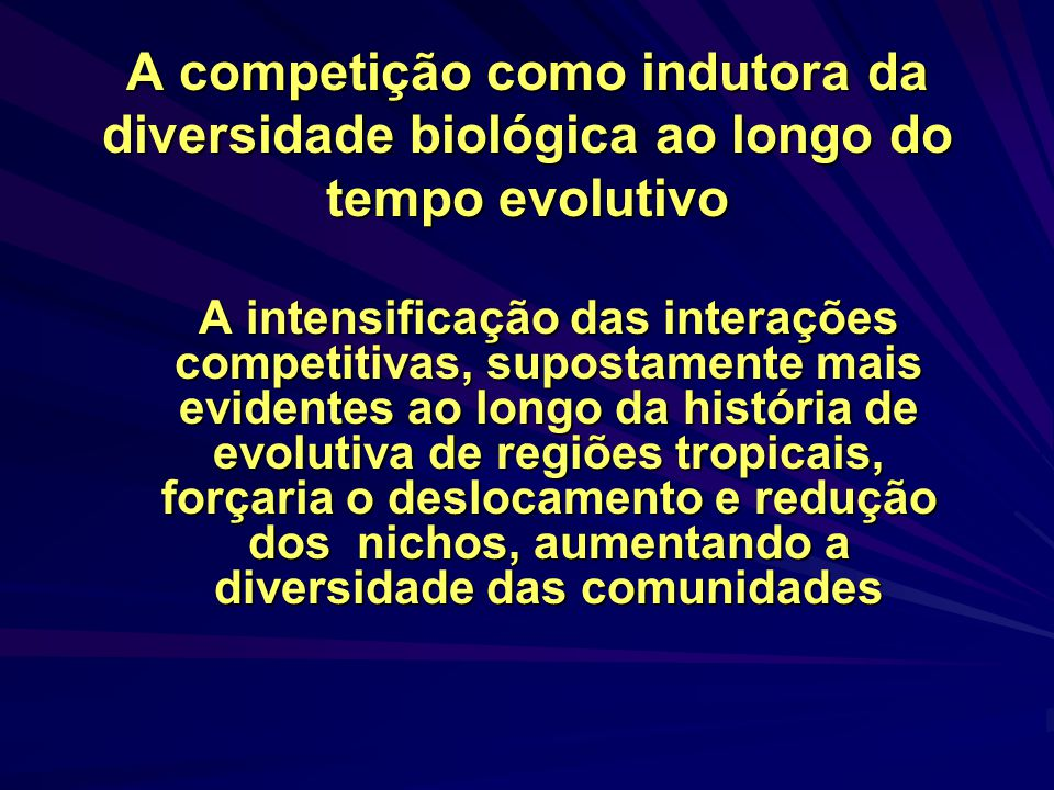 A competição como indutora da diversidade biológica ao longo do tempo evolutivo