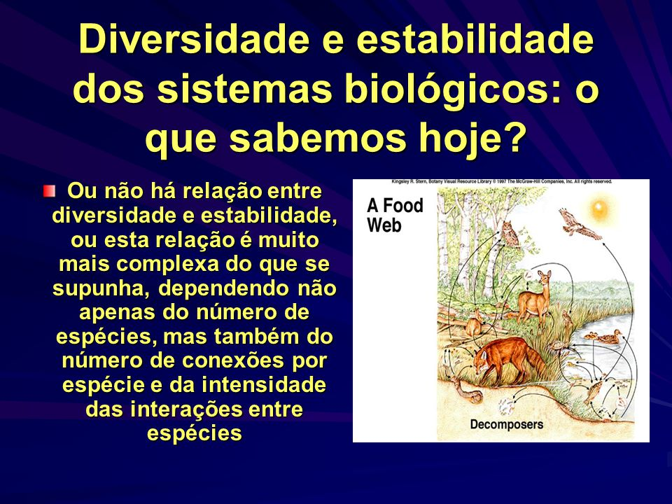 Diversidade e estabilidade dos sistemas biológicos: o que sabemos hoje