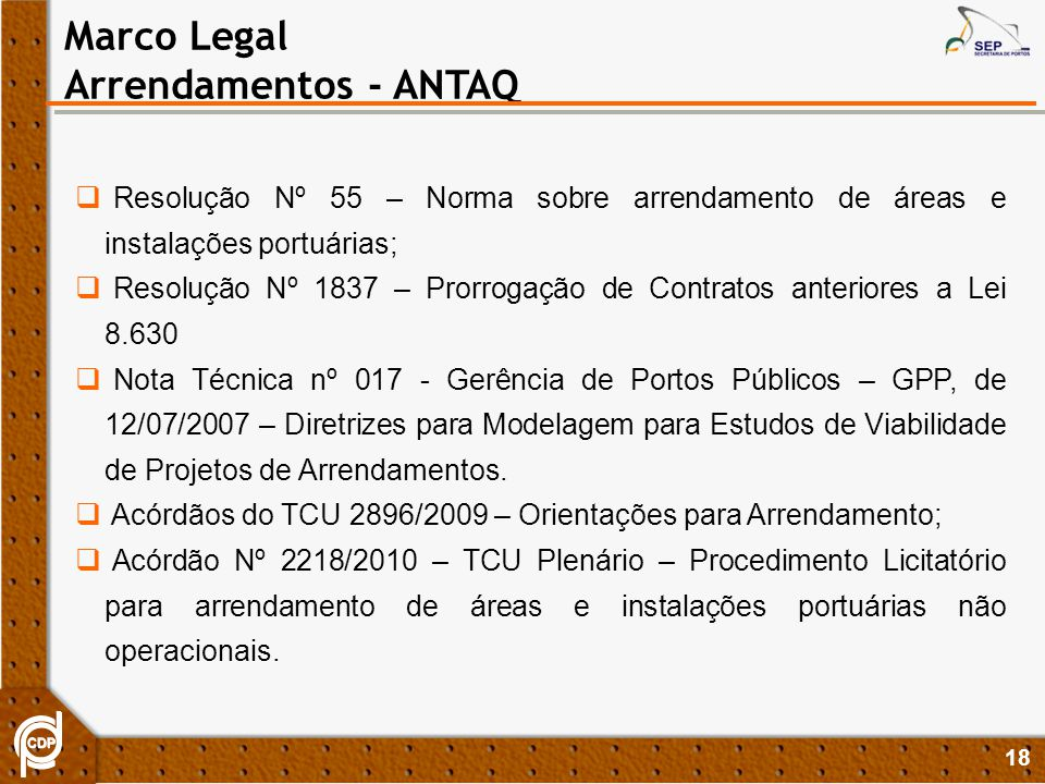 Marco Legal Arrendamentos - ANTAQ