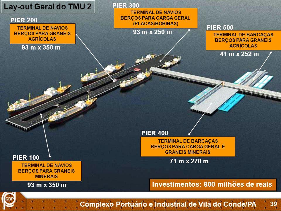 Lay-out Geral do TMU 2 Investimentos: 800 milhões de reais