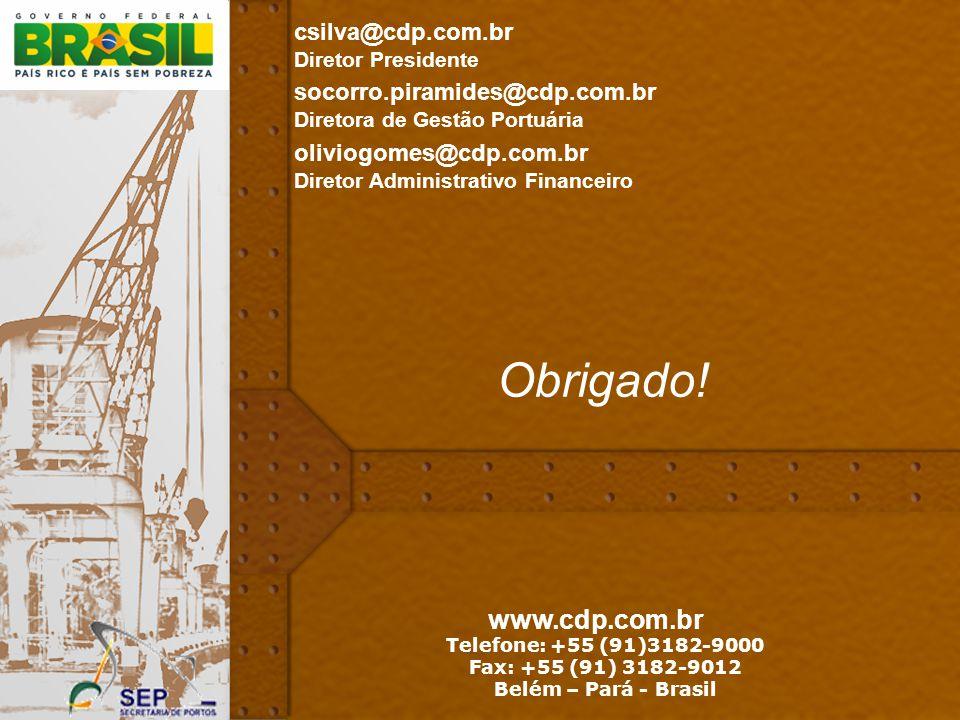 Obrigado! www.cdp.com.br csilva@cdp.com.br Diretor Presidente