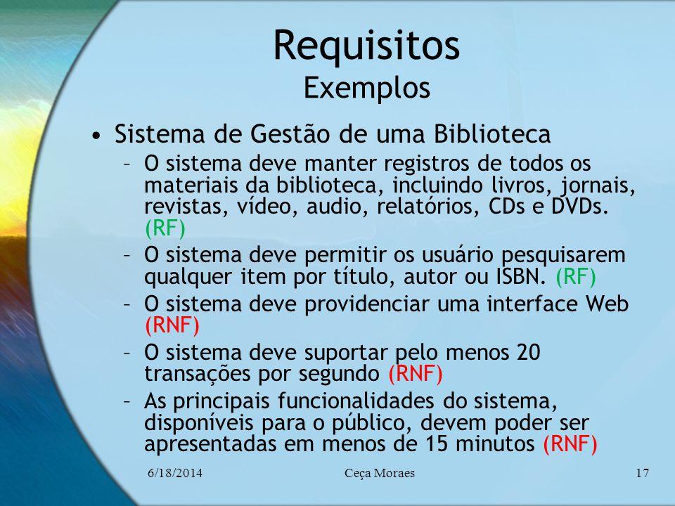 Requisitos Exemplos Sistema de Gestão de uma Biblioteca