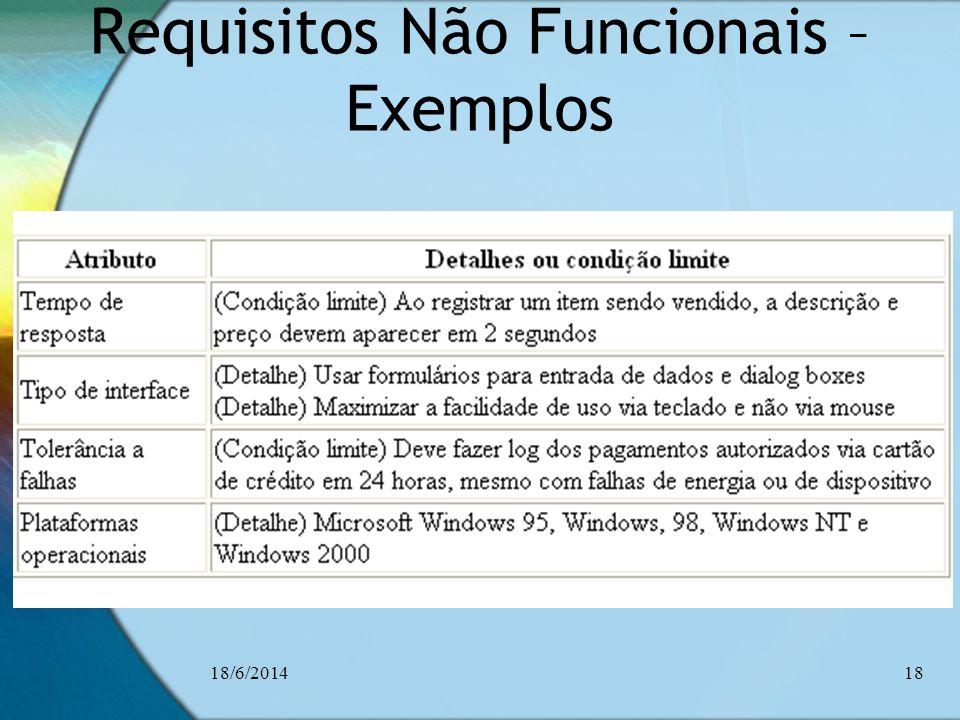 Requisitos Não Funcionais – Exemplos