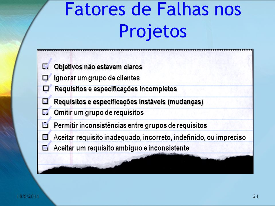 Fatores de Falhas nos Projetos