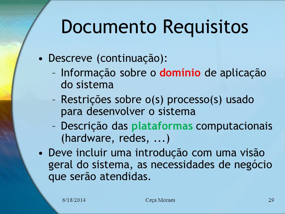 Documento Requisitos Descreve (continuação):