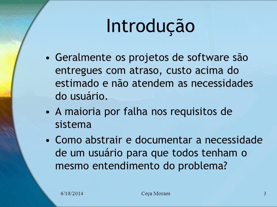 Introdução Geralmente os projetos de software são entregues com atraso, custo acima do estimado e não atendem as necessidades do usuário.