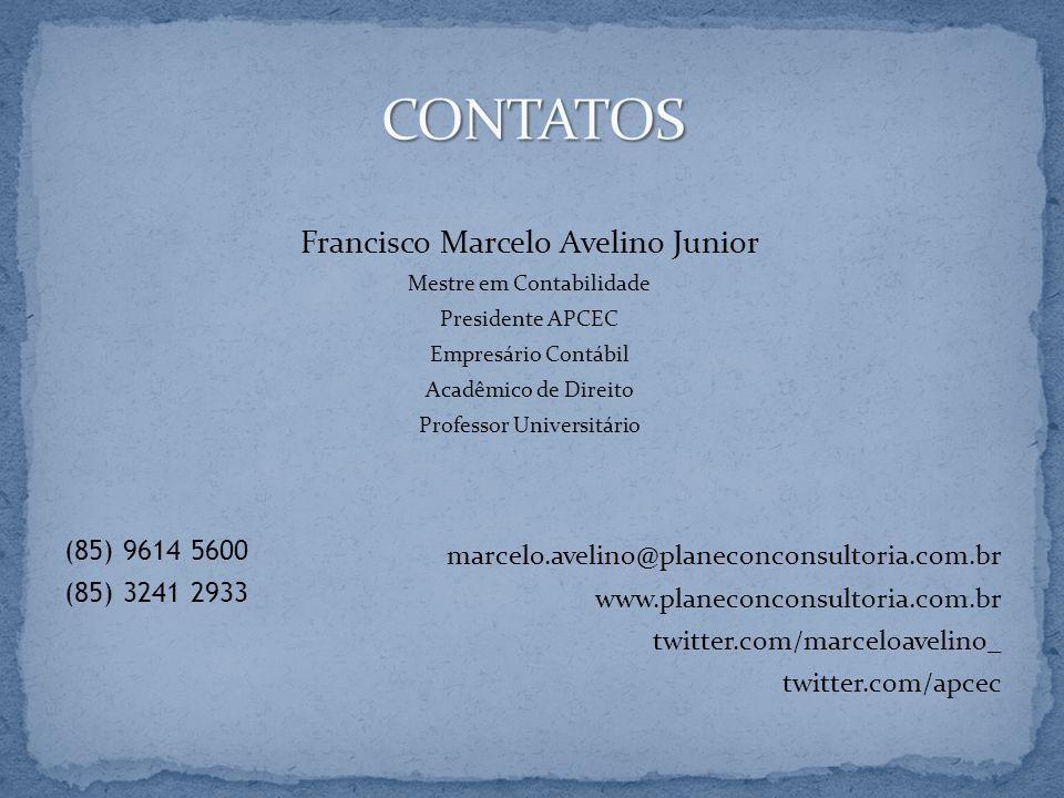 CONTATOS Francisco Marcelo Avelino Junior (85) 9614 5600