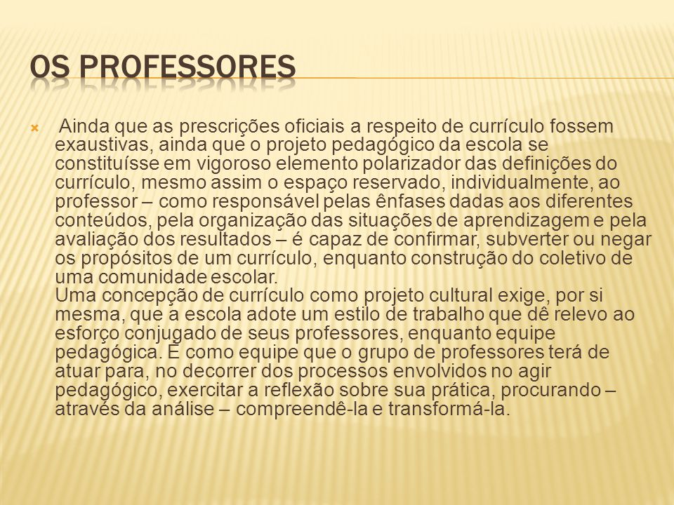 OS PROFESSORES