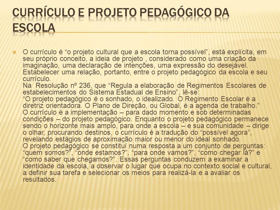 Currículo e Projeto Pedagógico da Escola
