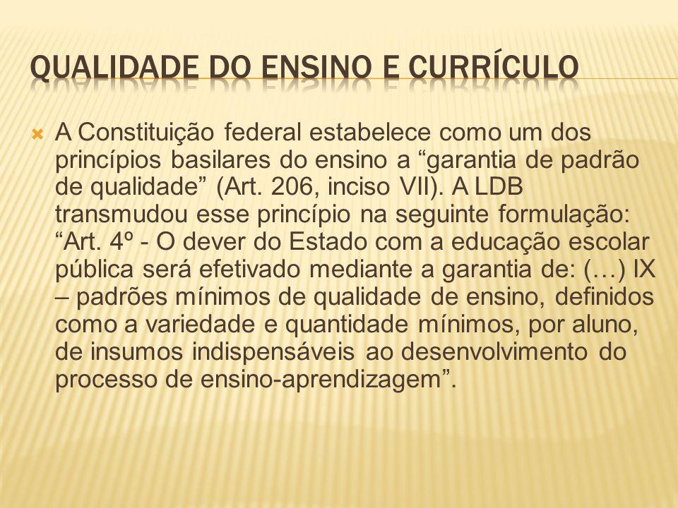 Qualidade do ensino e Currículo
